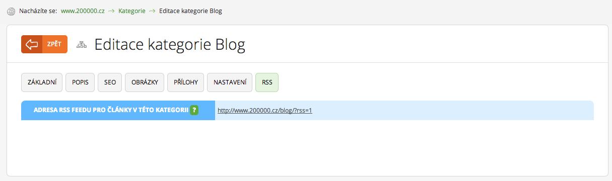 Nastavení naleznete v aplikaci Kategorie, záložka RSS